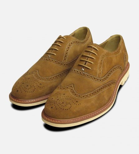 Mens Steptronic Shoes Round Toe Tobaco Beige Suede Lace Up Brogues