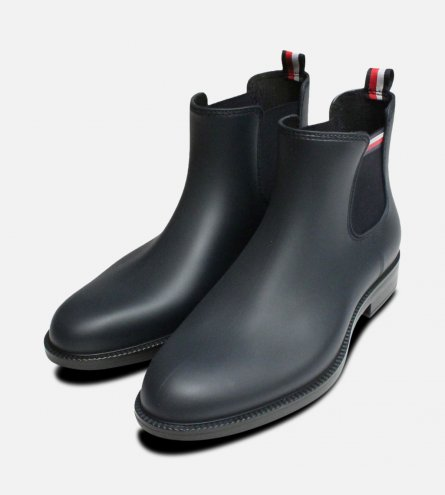 Navy Blue Tommy Hilfiger Stream Rubber Chelsea Welly