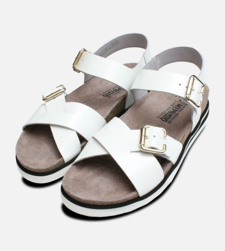 Sybil in White Patent Designer Mephisto Sandals