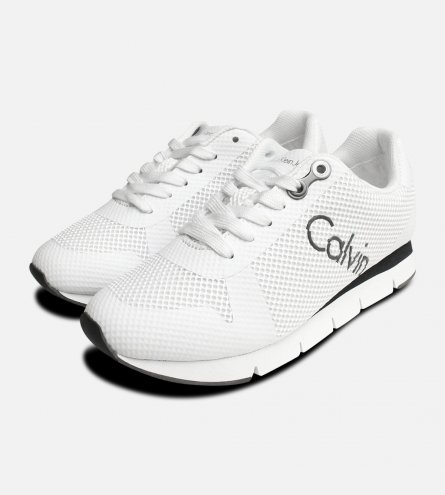 White Calvin Klein Taline Mesh Trainers for Ladies