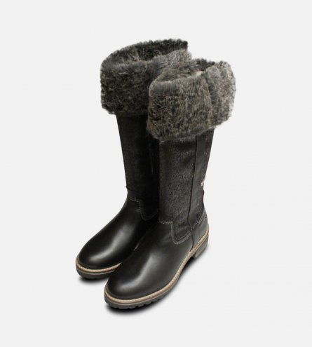 Black Warm Fur Lined Tamaris Long Boots with Duo Tex