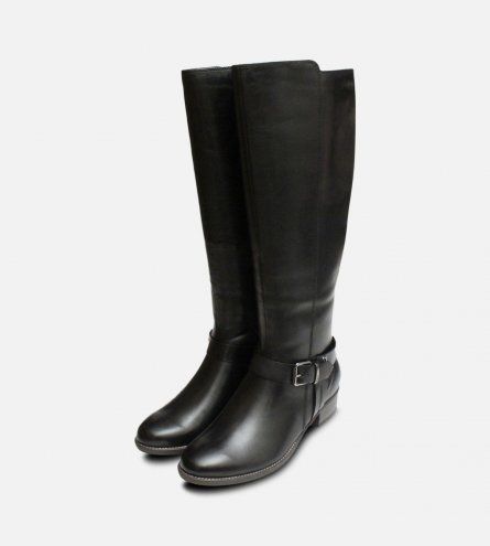 Tamaris Black Leather Ladies Designer Zip Boots