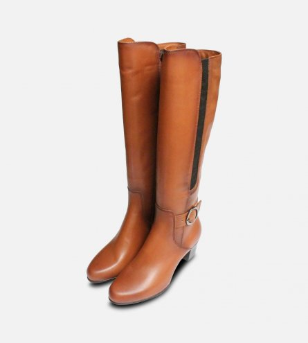 Tamaris Tan Brown Leather Knee High Boots with Heel