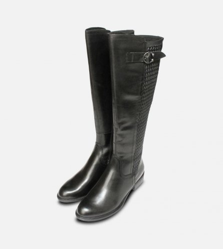 Tamaris Full Length Plain Black Ladies Zip Boots