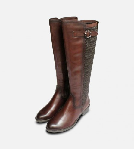 Tamaris Full Length Cafe Brown Elasticated Zip Boots