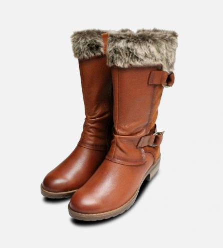 Cognac Brown Womens Side Zip Tamaris Fur Boots