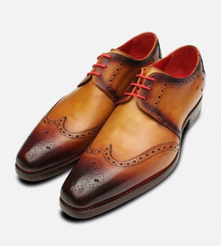 Jeffery West Tan Patina Diamond Brogue Mens Shoes