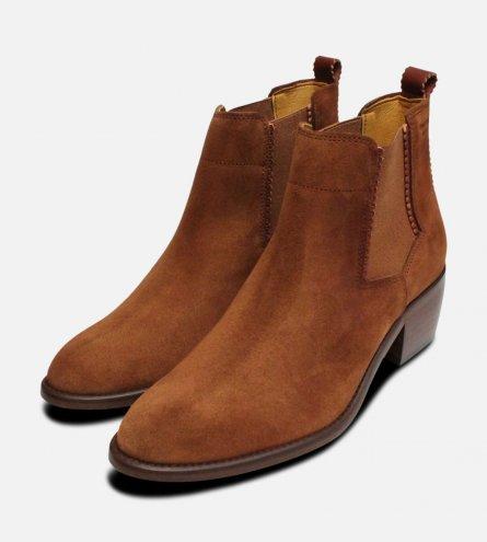 Ladies Cuban Heel Chelsea Boots in Tan Suede