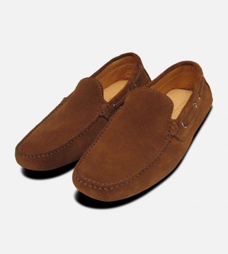 Mens Driving Shoes Tobacco Suede Moccasins