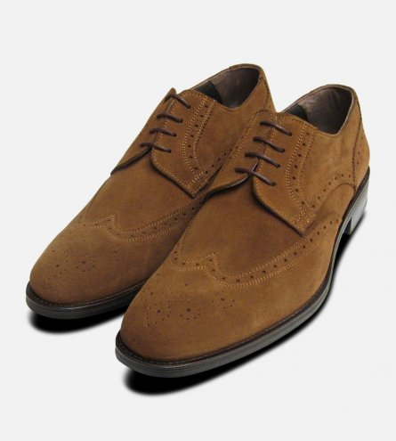 Tobacco Snuff Suede Brogues for Men by Designer Label John White Shoes