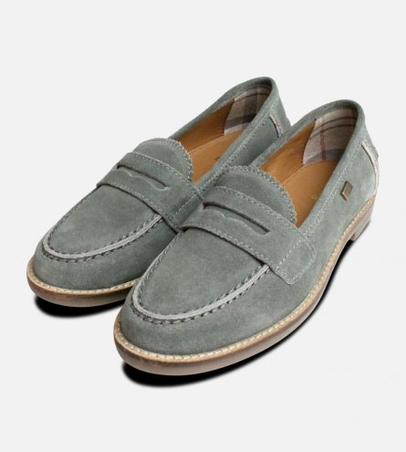 Barbour Briony College Loafer in Teal Suede