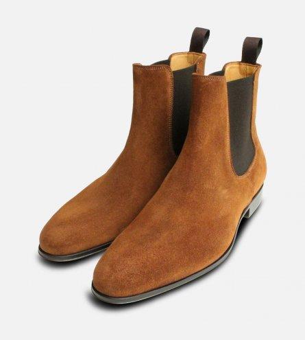 Tobacco Snuff Suede Mens Italian Chelsea Boots