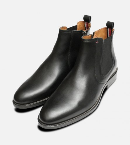 Black Tommy Hilfiger Daytona Dress Chelsea Boots