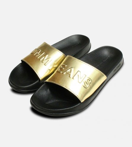 Pool Slides by Tommy Jeans in Black & Gold Metallic