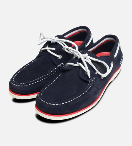 Tommy Hilfiger Navy Blue Suede Mens Boat Shoes