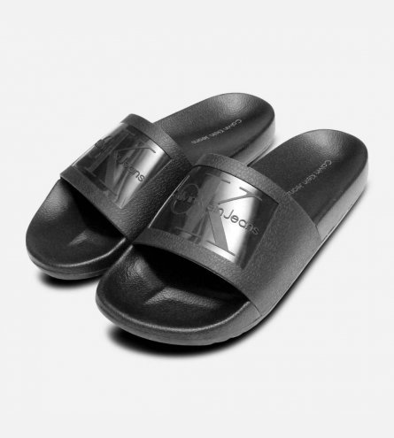 Vincenzo Black Jelly Calvin Klein Mens Slide Sandals