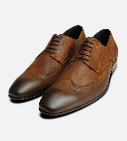 Tan Nubuck Waxy Lace Up Shoes for Men by Designer Brand Exceed