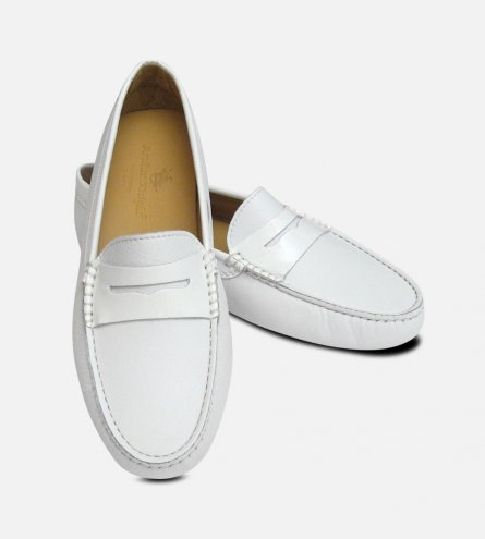 White Leather & Patent Arthur Knight Ladies Italian Driving Shoe Moccasins