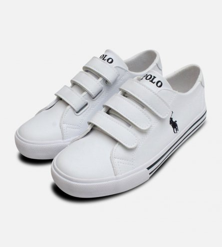 White Ralph Lauren Polo Slater EZ Kids Shoes