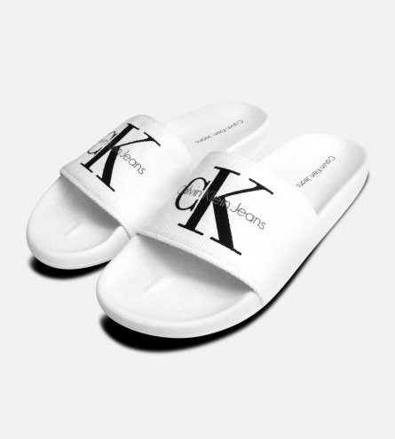White Mens Calvin Klein Viggo Canvas Sandals