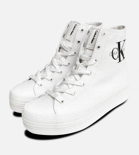 White Calvin Klein Flatform Zabrina Trainer Hi Tops