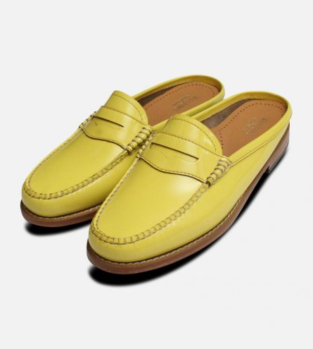 Ladies Lemon Yellow Patent Leather Bass Slides