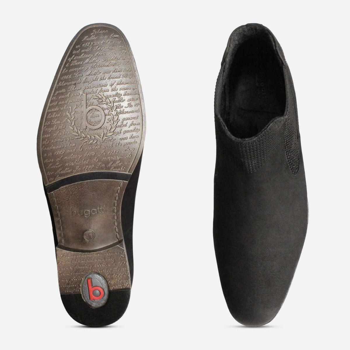 Matt Black Nubuck Leather Bugatti Beatle Boots for Men