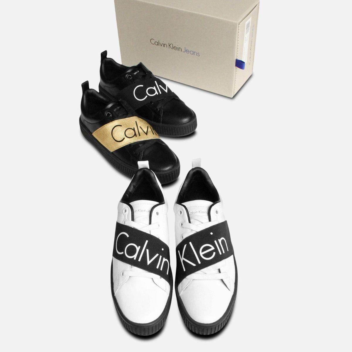 White with Black Calvin Klein Ladies Antonia Trainer