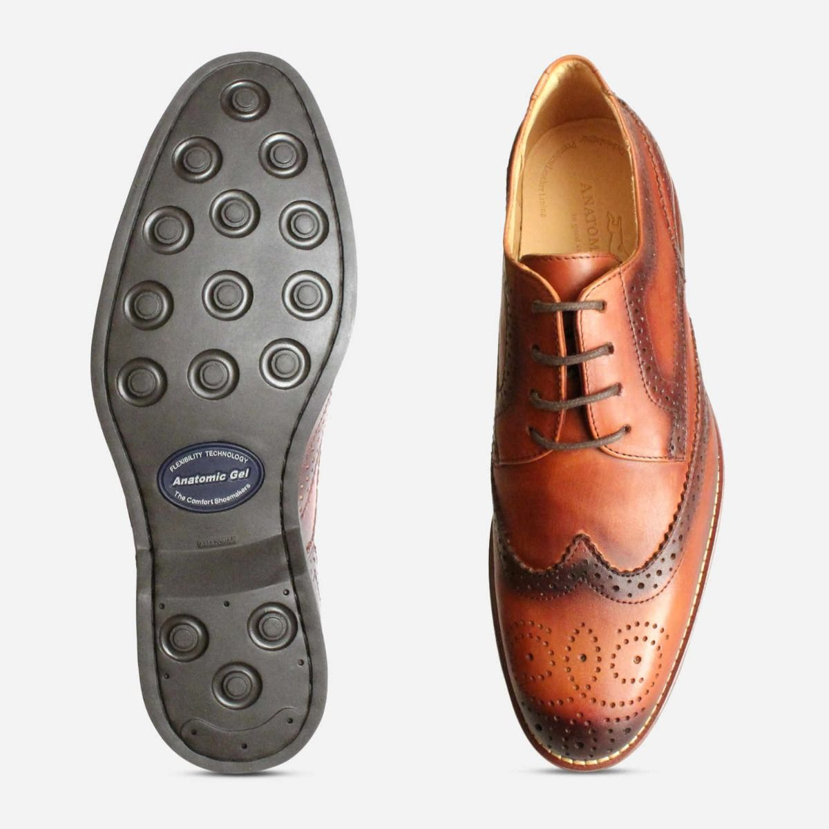 Brushed Tan Mens Wingtip Brogues by Anatomic Shoes