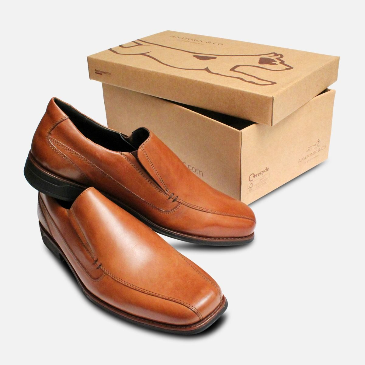 Square Toe Slip On Loafers in Tan by Anatomic Shoes