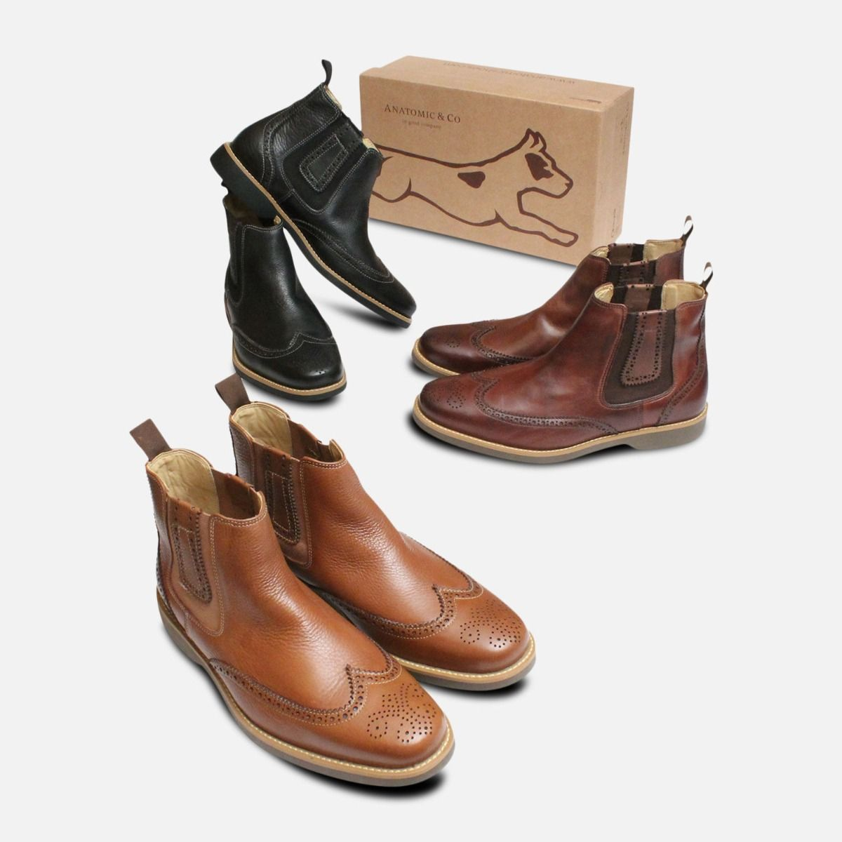 Cognac Wingtip Brogue Chelsea Boots by Anatomic Co