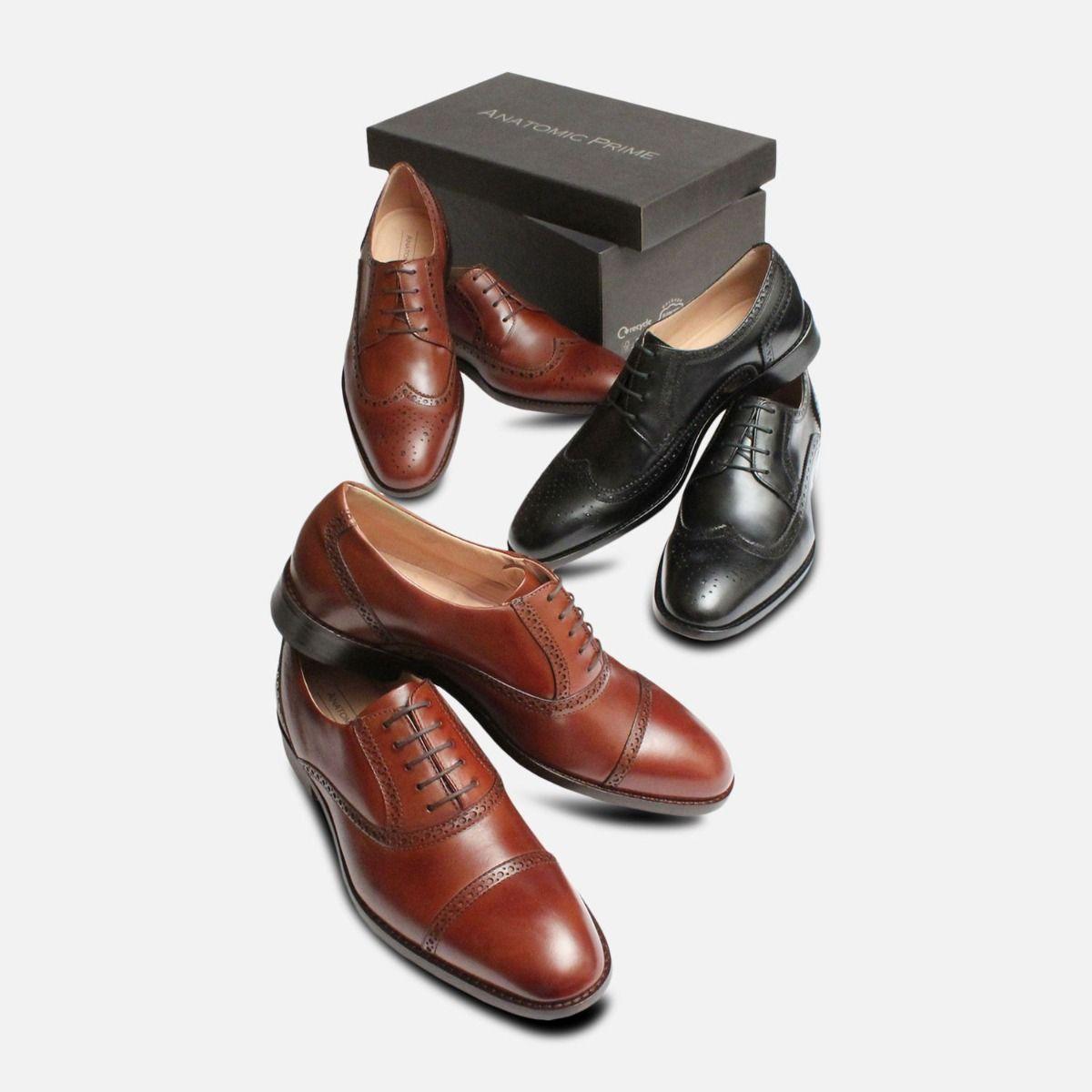 Black Kidskin Mens Wingcap Brogues by Anatomic Shoes