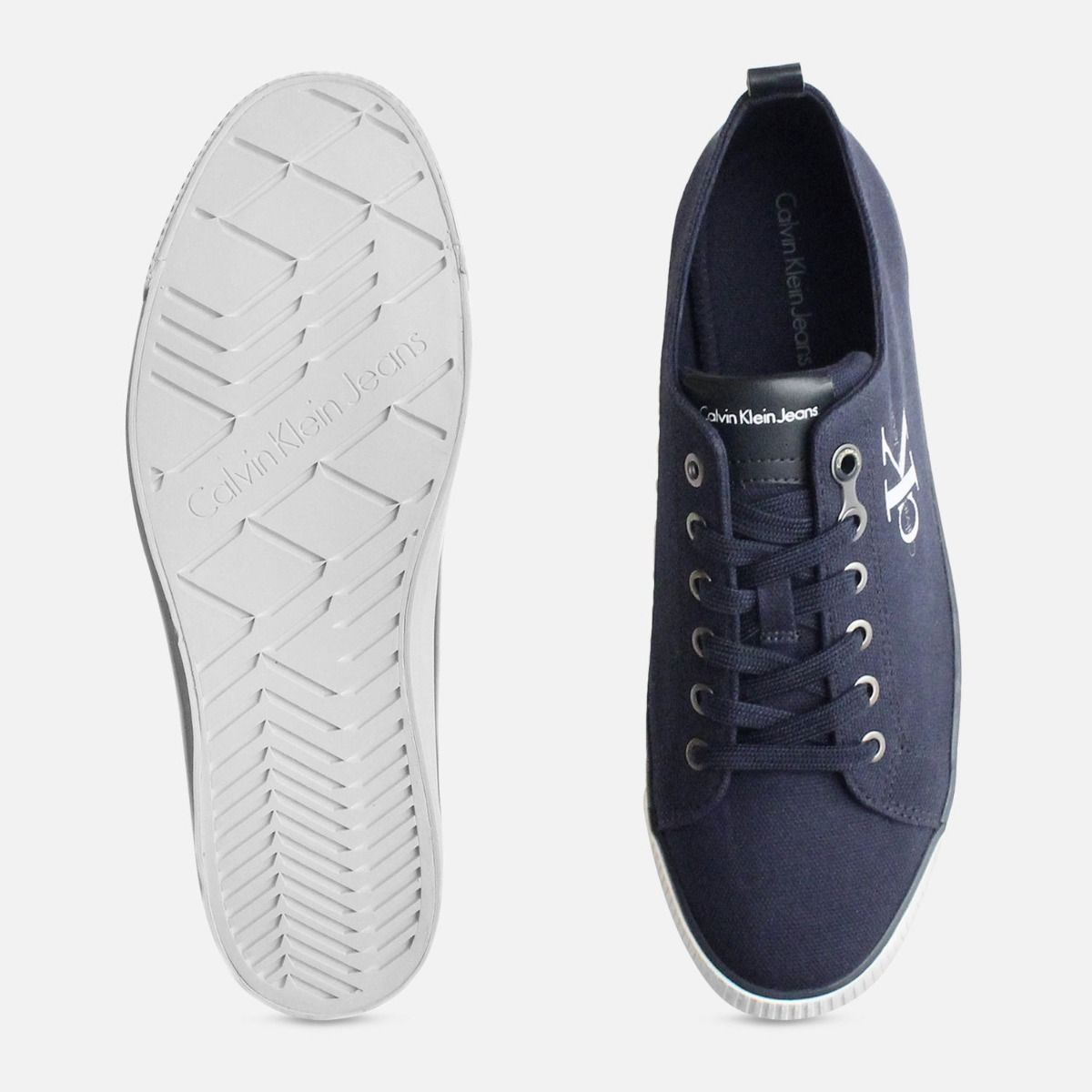 Calvin Klein Navy Blue Arnold Canvas Trainers for Men