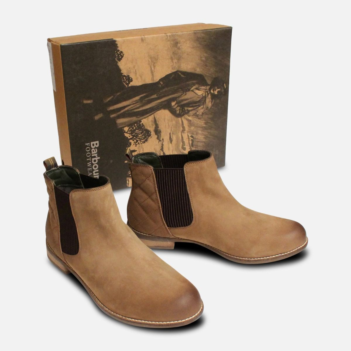 c7d14cc48c70 Mid Brown Barbour Abigail Slip On Ladies Chelsea Boots