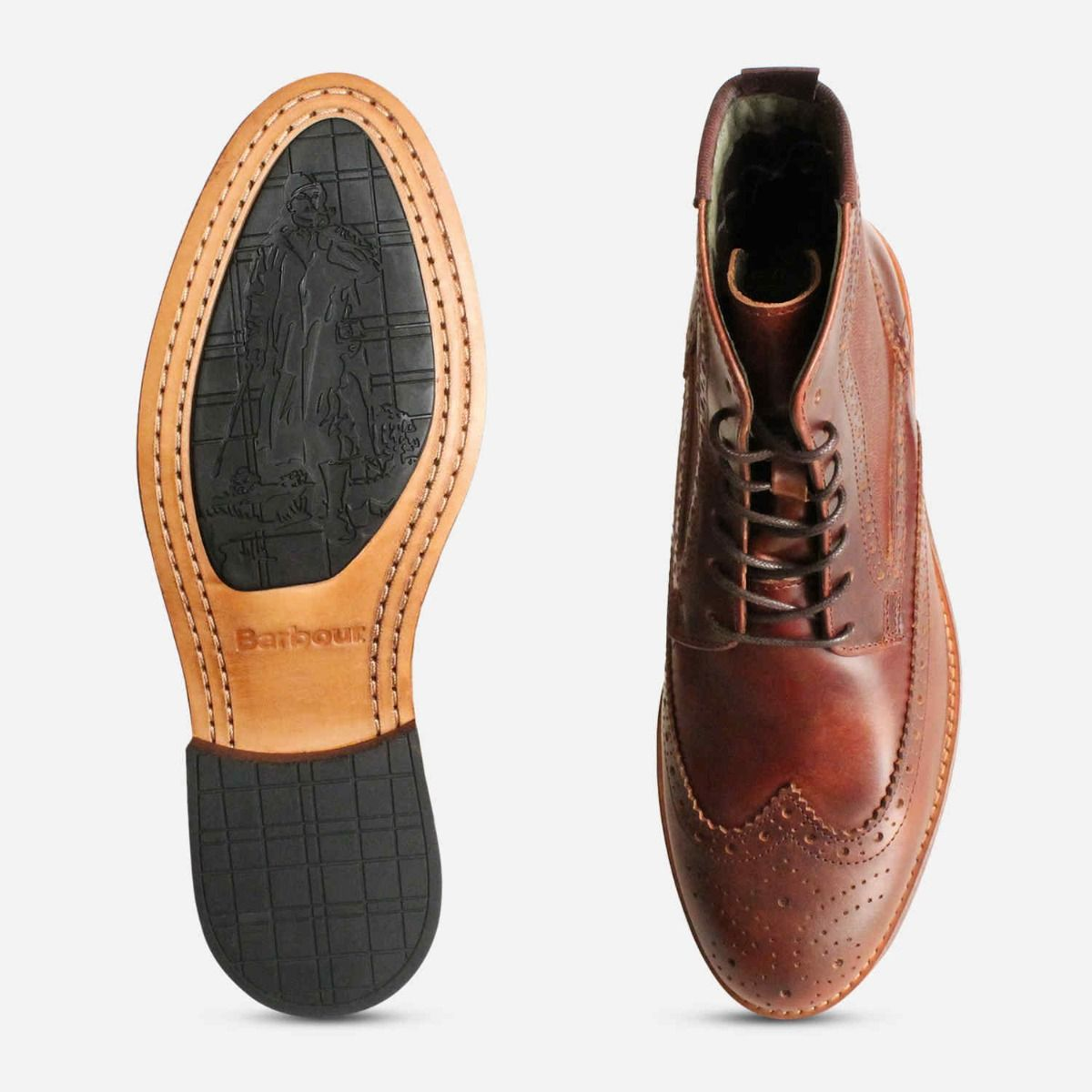 Barbour Belford Country Brogues in Mahogany Brown