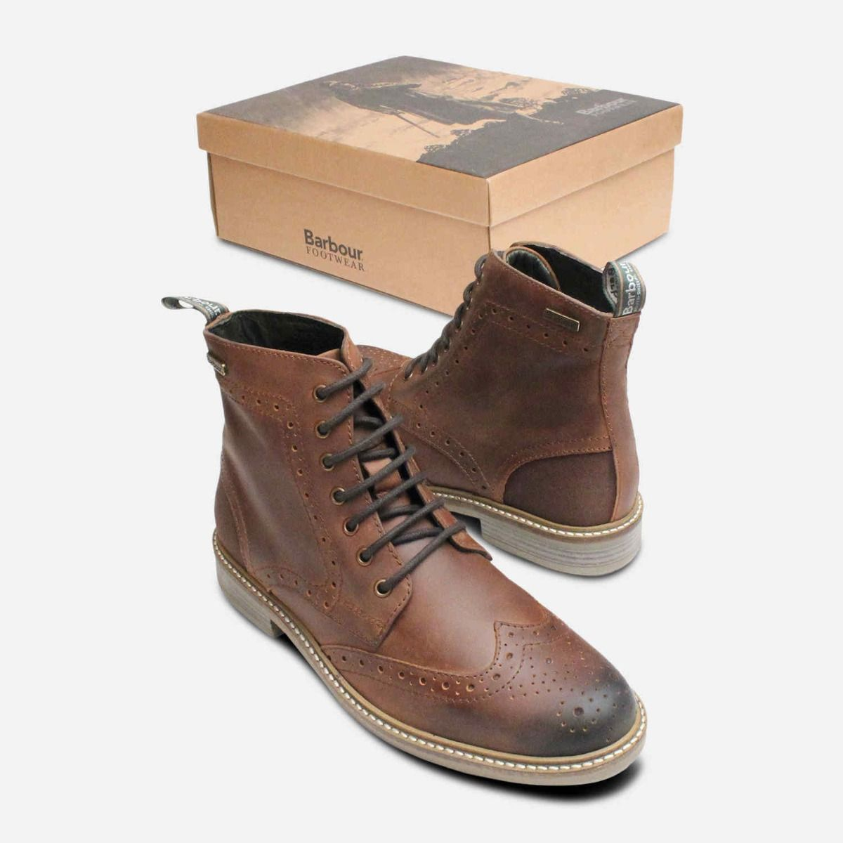 54acd6dc6e3 Country Brogues in Waxy Brown by Barbour Belsay