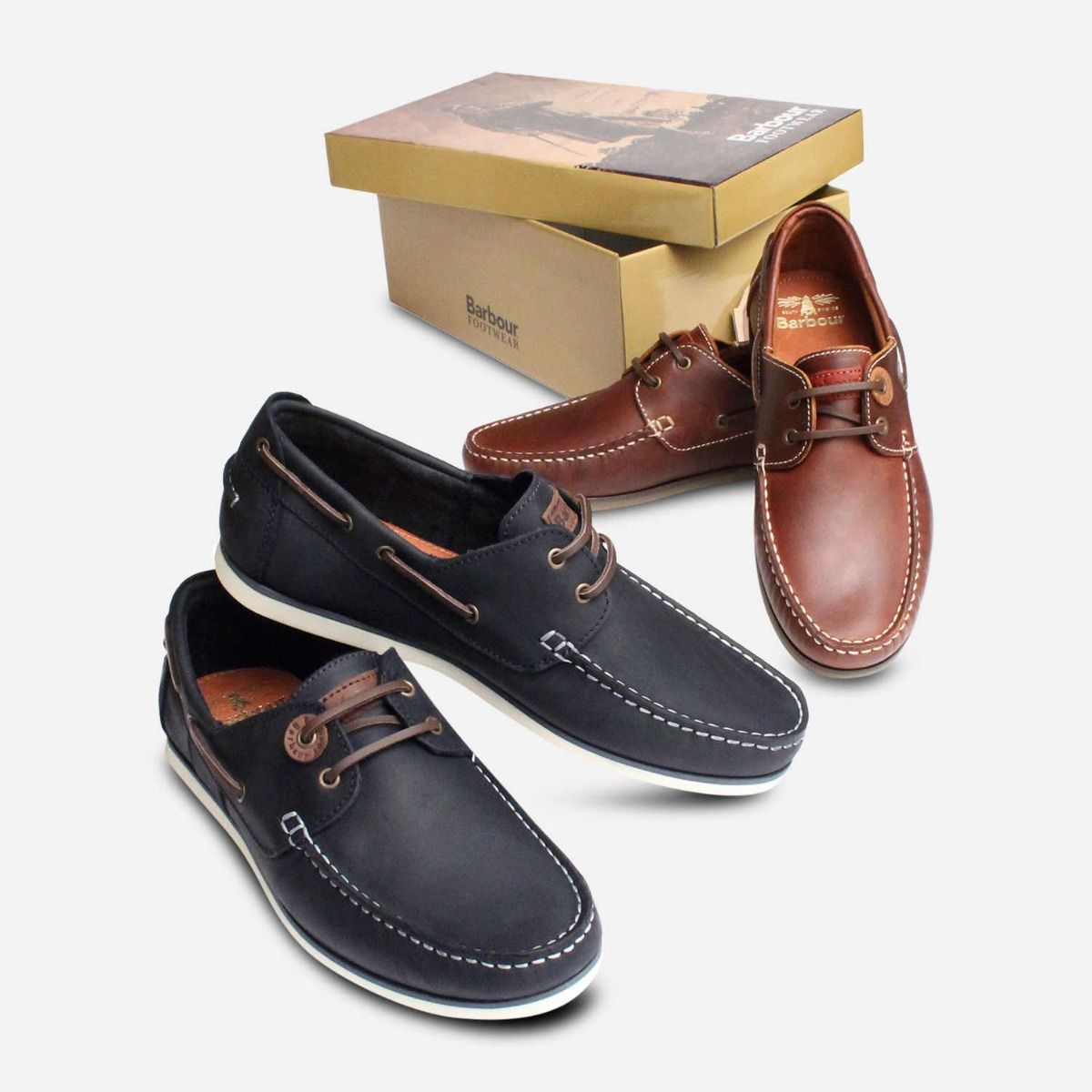 Barbour Capstan Navy Blue & White Boat Shoes
