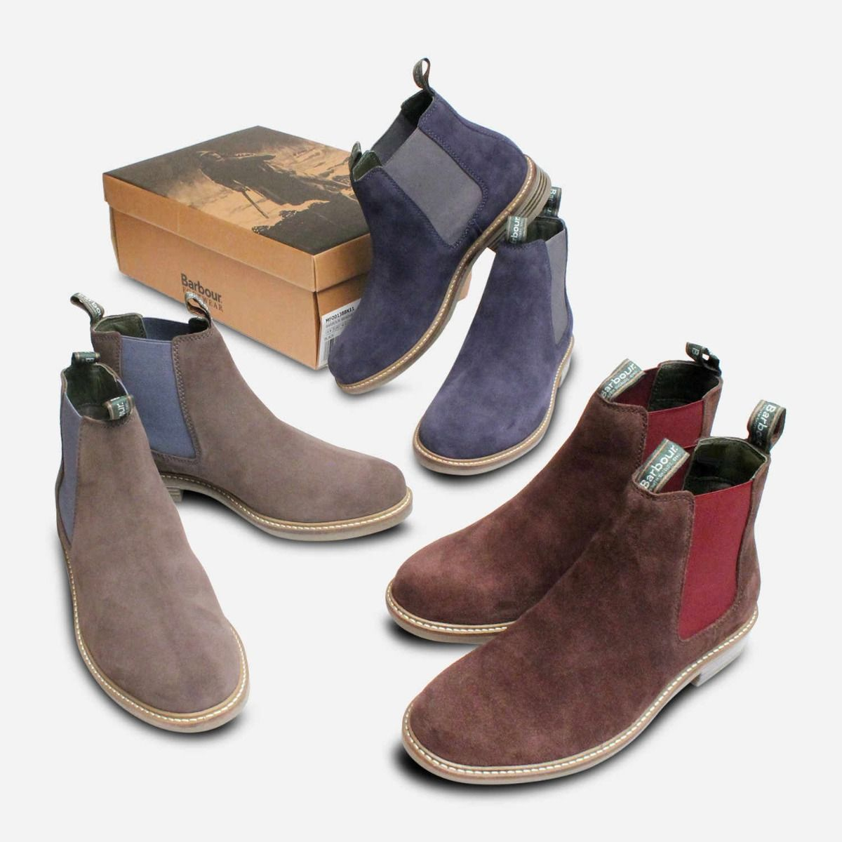 Grey Suede Barbour Farsley Chelsea Boots Blue Elastic