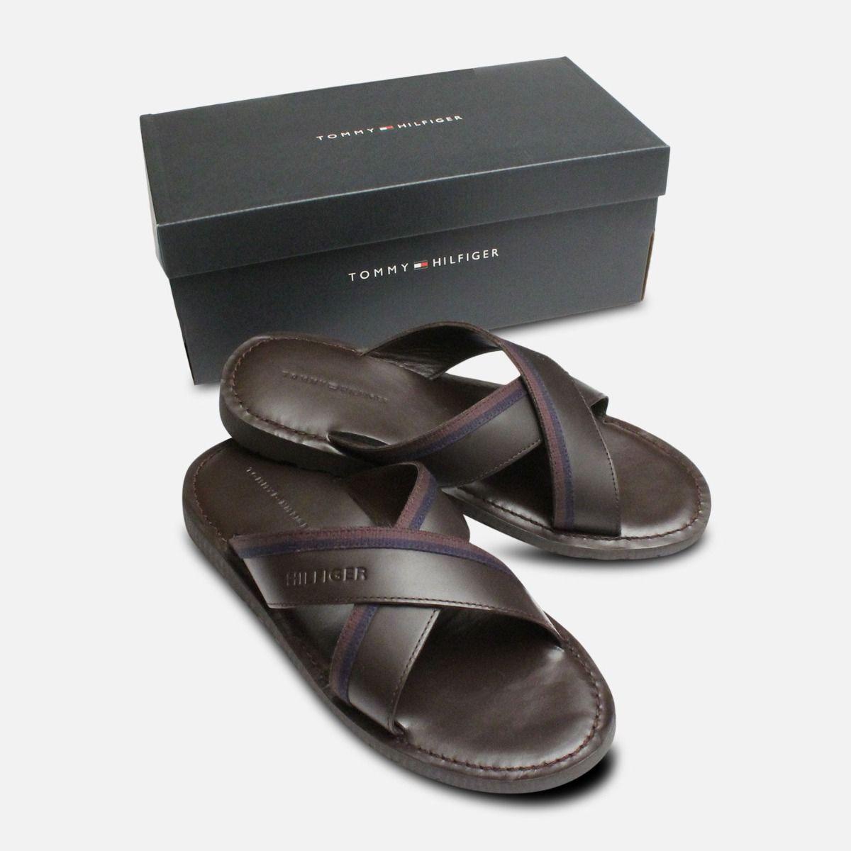 Coffee Brown Tommy Hilfiger Cross Strap Sandals