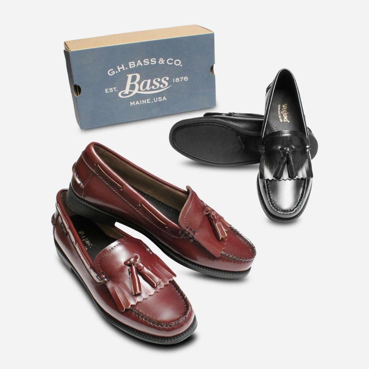Bass Rubber Sole Ladies Esther Kiltie Black Loafer Shoes