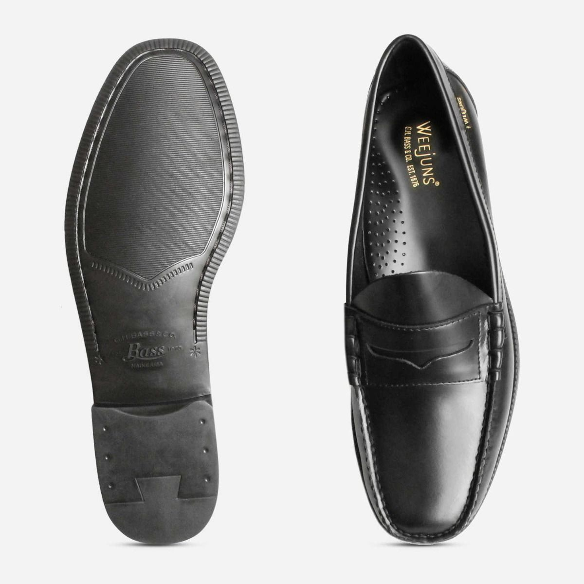 Formal Black Larson Bass Weejun II Loafers with Rubber Sole