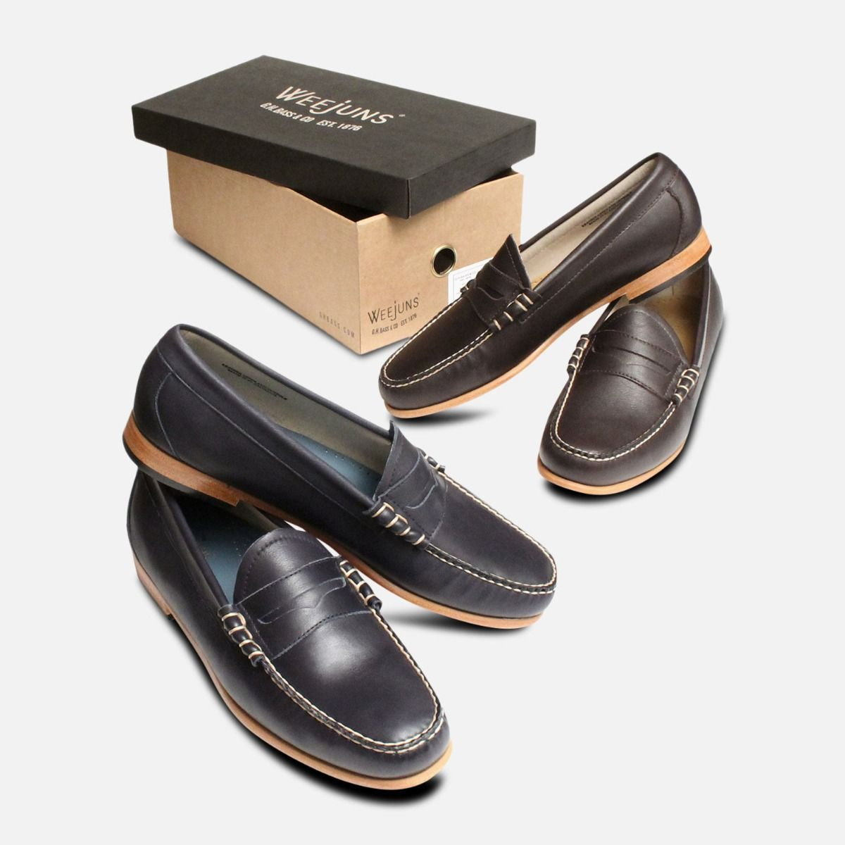 Brown Leather Larson Loafers by GH Bass Weejuns