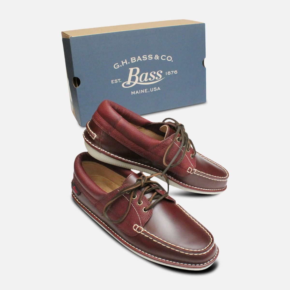 Chestnut Leather Boat Shoes for Men by Bass Wilton