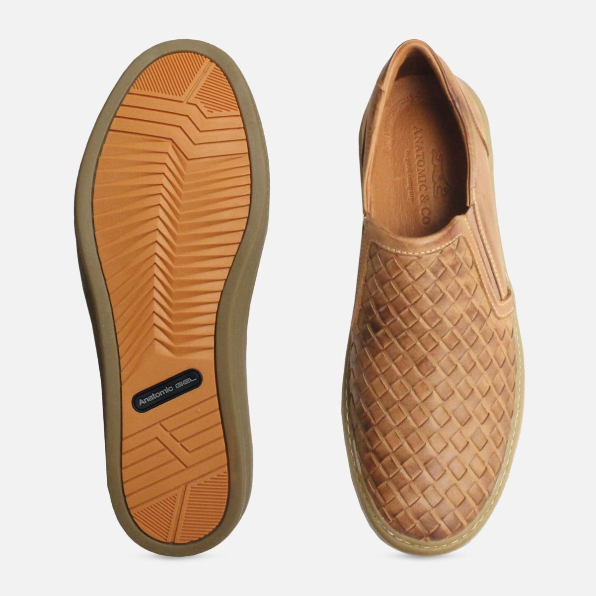 66133a41b3acf0 Light Brown Weave Loafers for Men by Anatomic Shoes