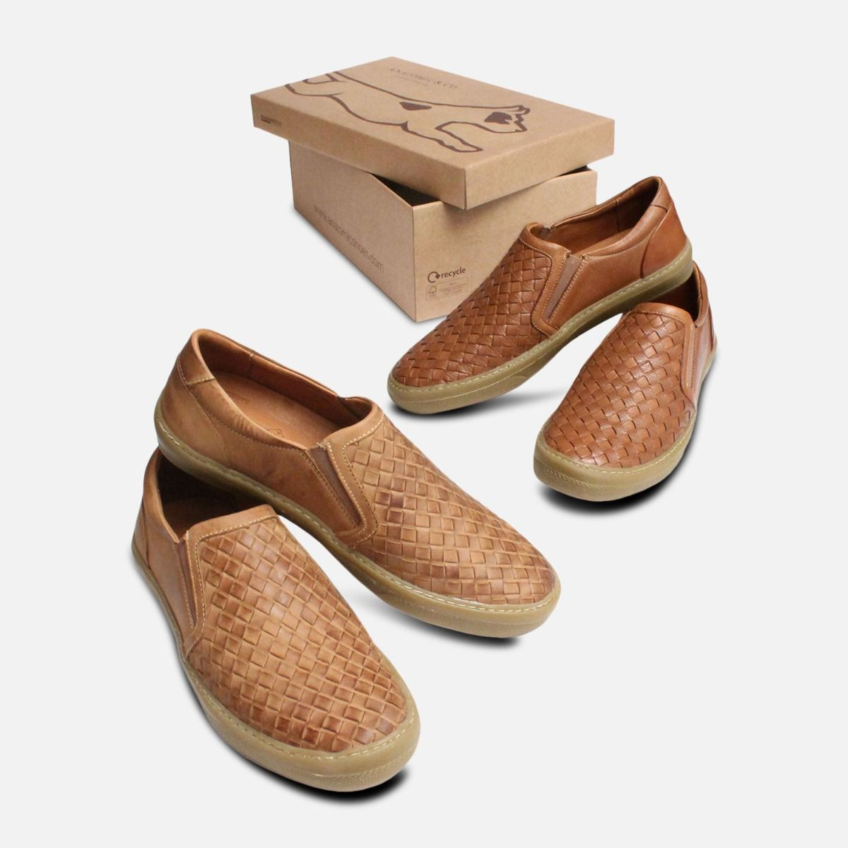 Light Brown Weave Loafers for Men by Anatomic Shoes