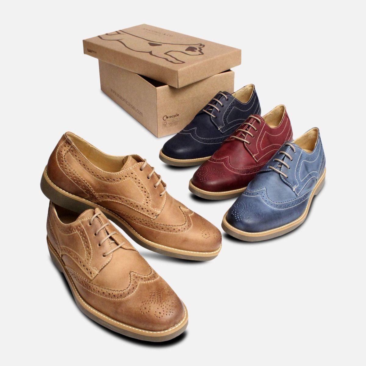 Waxy Light Brown Mens Lace Up Brogues Anatomic Shoes