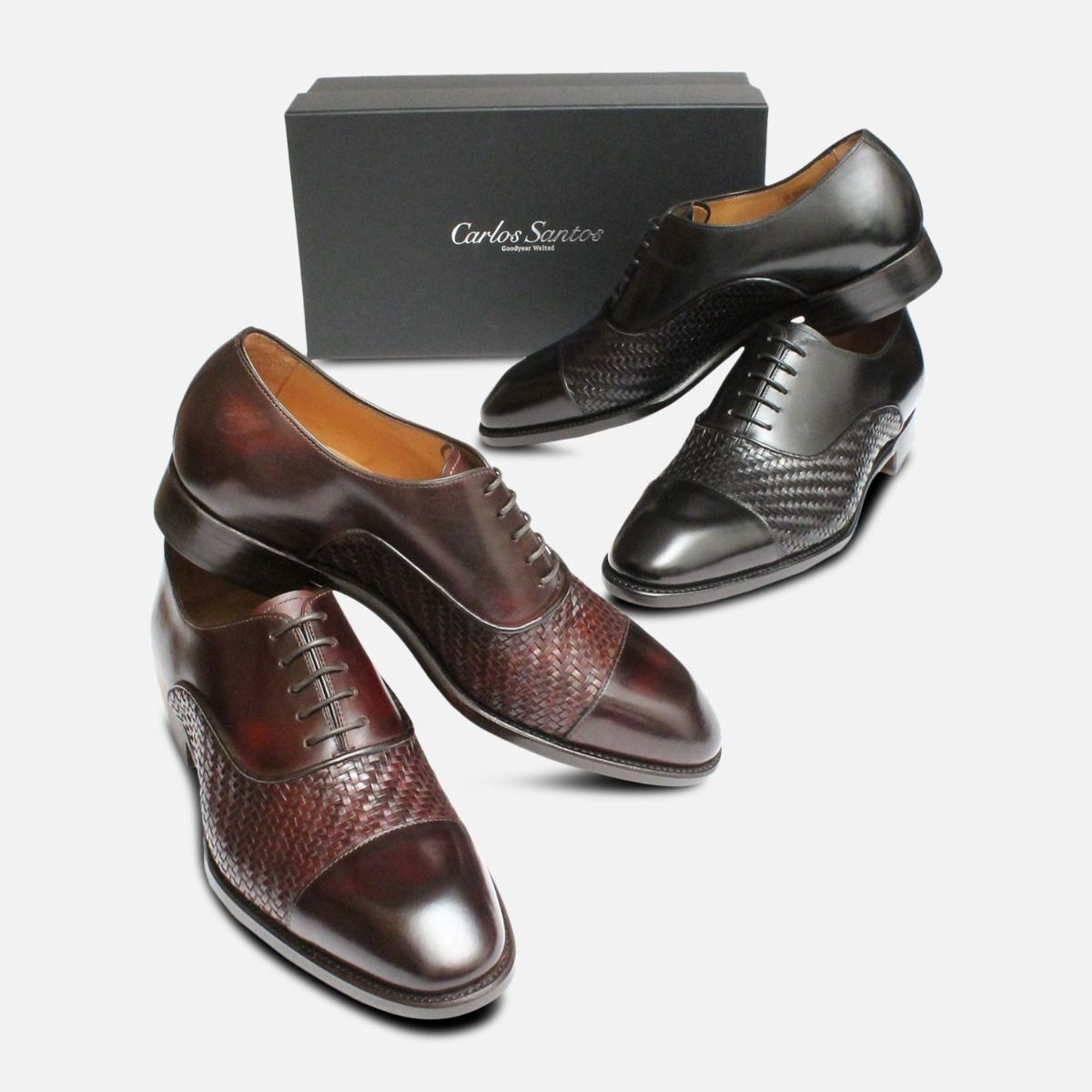 Black Weave Oxfords by Carlos Santos Shoes