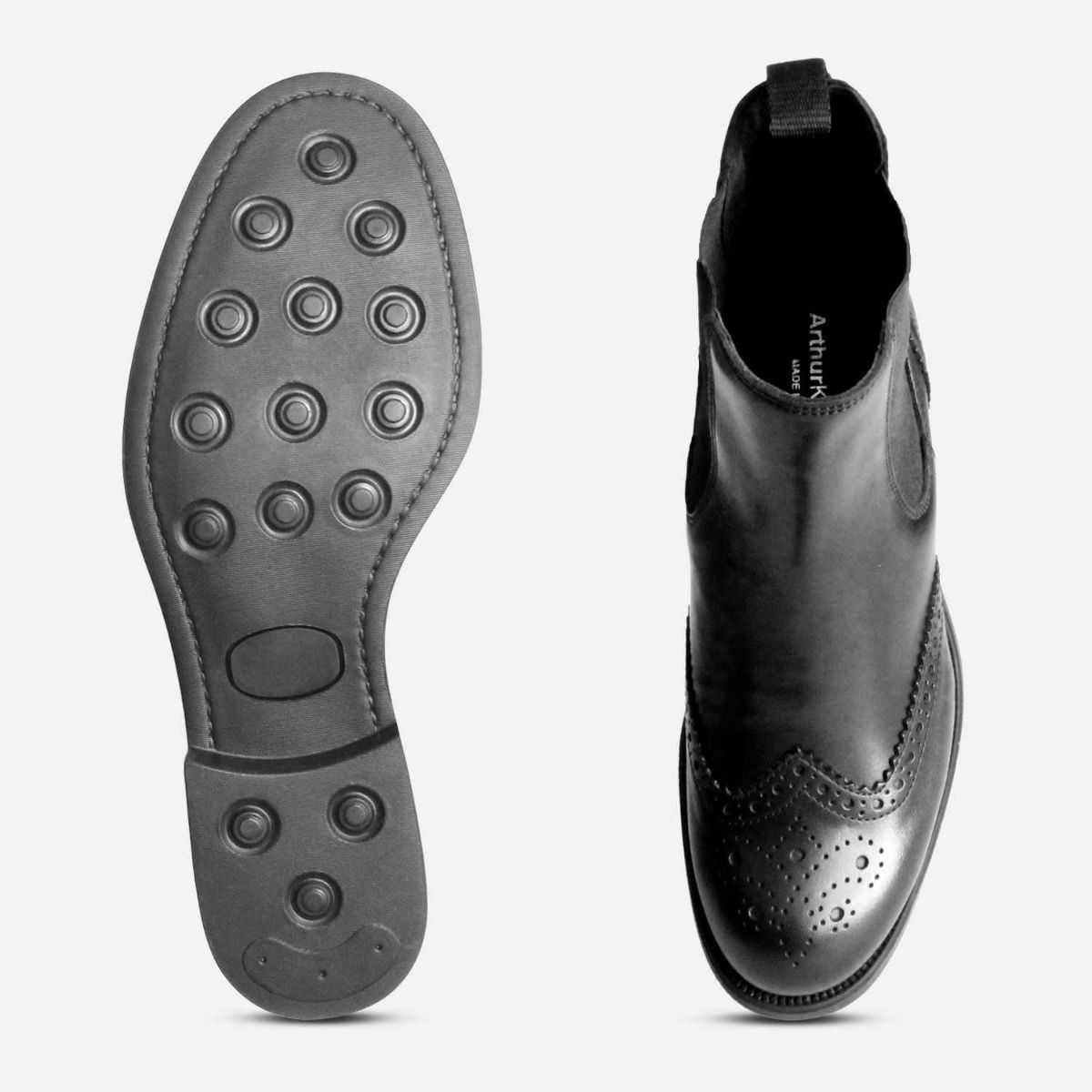 Designer Italian Ladies Chelsea Boot Brogues in Black