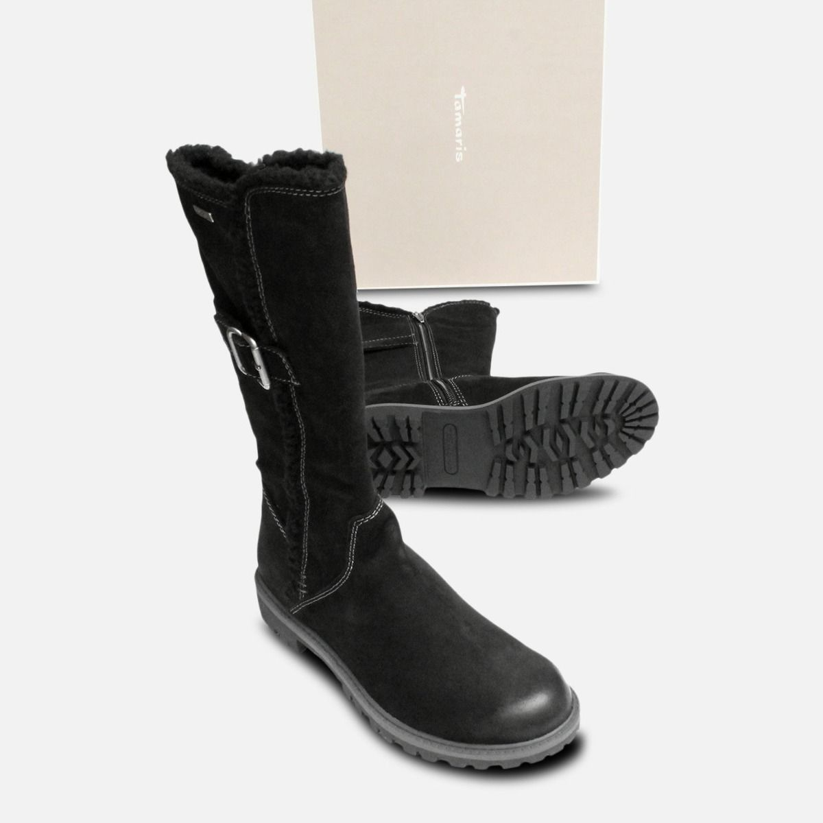Black Nubuck Suede Tamaris Long Boots Duo-Tex