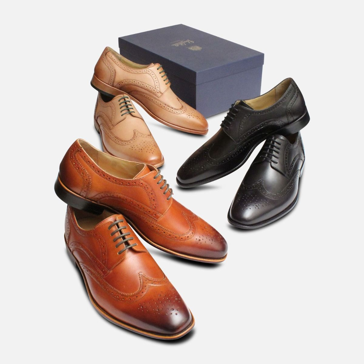 Wingtip Brogues in Black by Arthur Knight Shoes